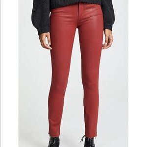 PAIGE NWOT RED COATED HOXTON ANKLE ZIP JEANS